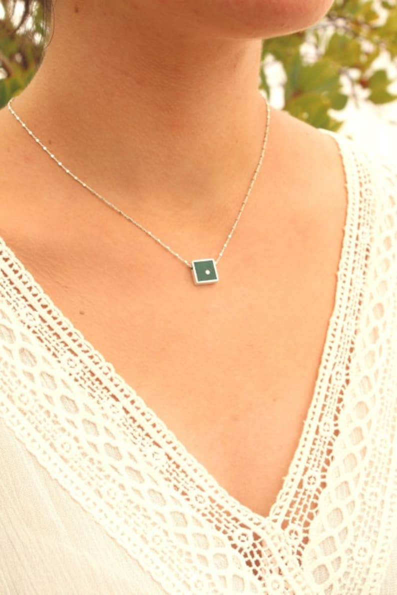 Gemstone 13 mm jewelry making Round Dot Dioptase Square Shape Green Silver 925 Pendant