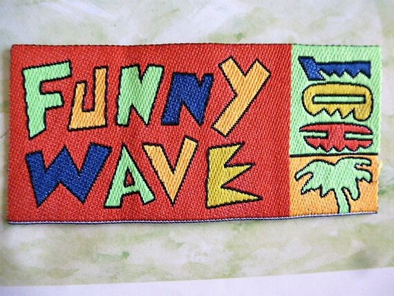 Applique surfing wave funny red background and letters neon etsy