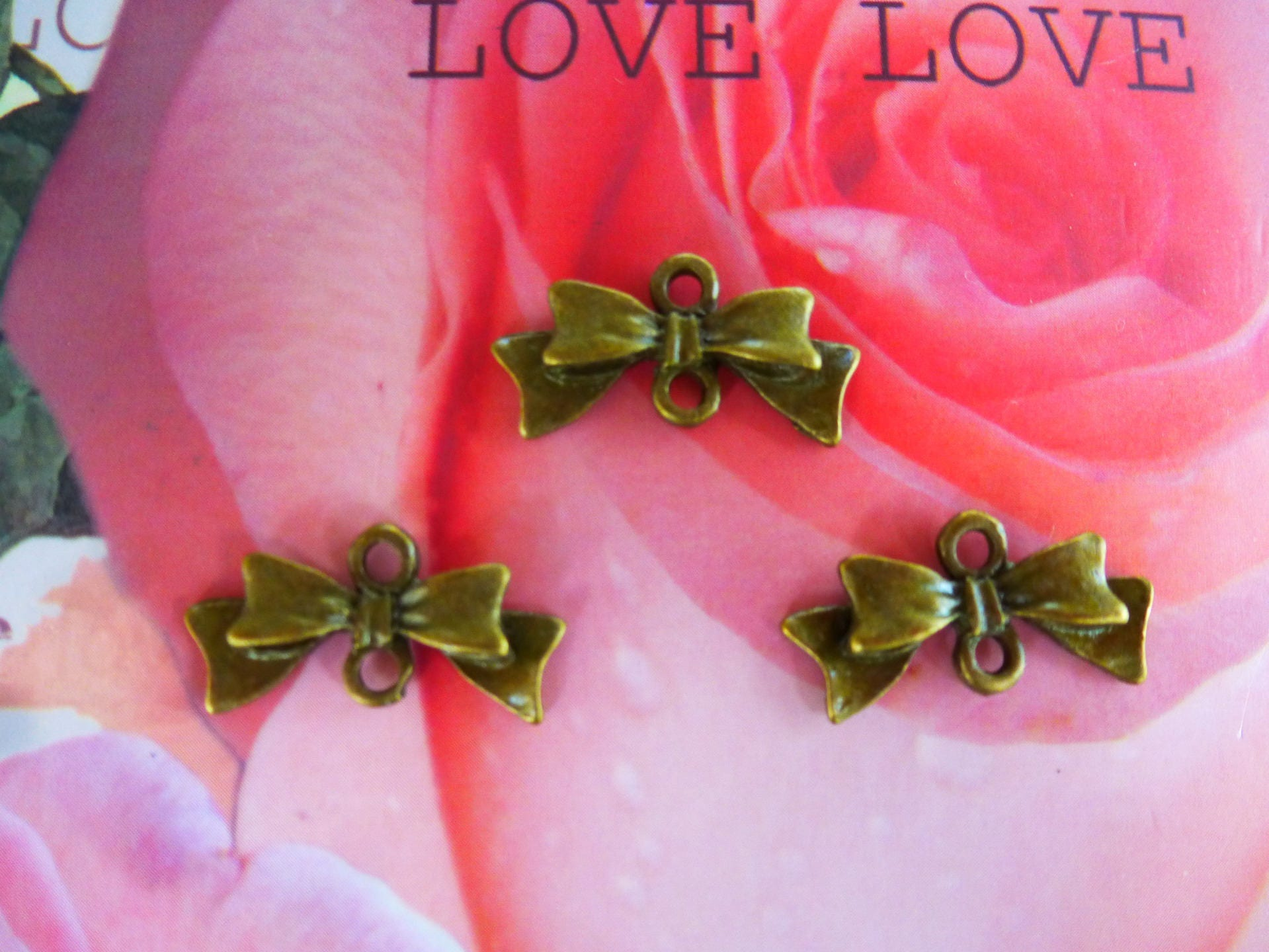 metal bow connector charms bronze set of 3   Etsy