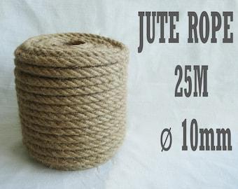 Natural High Quality Jute Rope, Jute Cord, 10mm, 25 meter