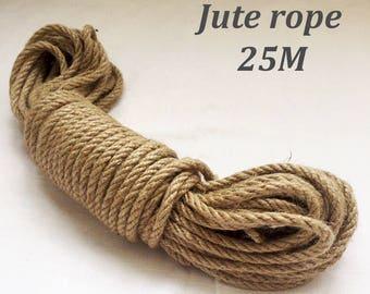Natural High Quality Jute Rope, Jute Cord, 6mm,8mm, 25 meter