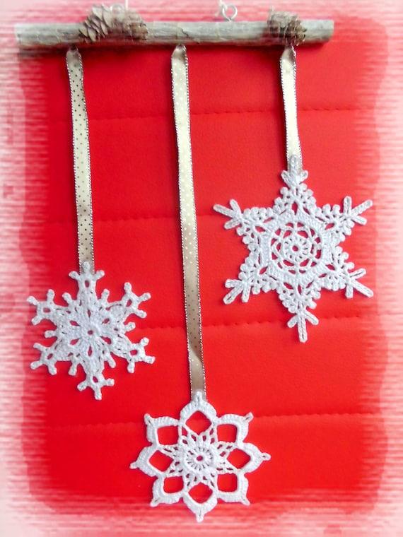 Deco Noel Crochet.Mobile Hanging Christmas Decoration Snowflakes Crochet Christmas Ornament Window Decoration Home Decor Doily