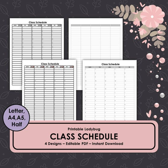 printable class schedule template