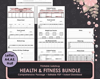 Health & Fitness Bundle,Fitness Planner,Fitness Journal,Printable Health Journal,Health Planner,Fitness Tracker,Exercise Tracker,Weight loss