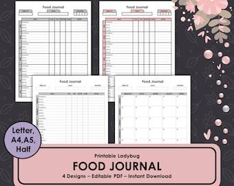 Food Journal, Food Diary, Weekly Food Journal, Food Planner, Fitness Journal, Health Journal, Printable Food Journal, Printable Food Diary