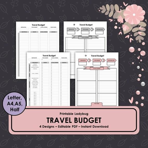 printable travel budget travel journal travel budget etsy