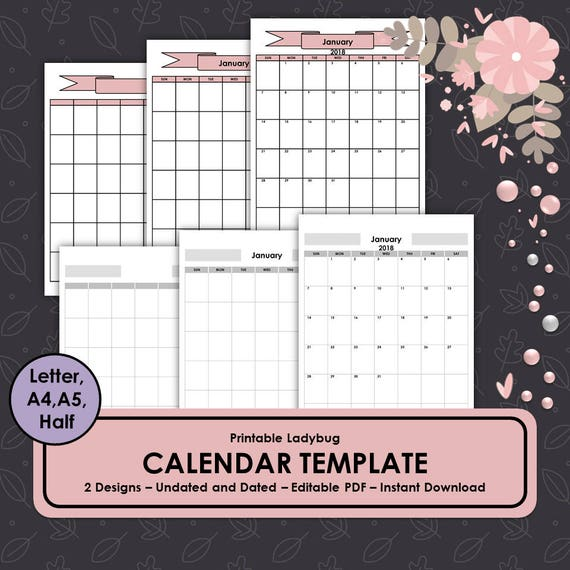 Kalendervorlage 2018 Kalender Monatskalender monatliche