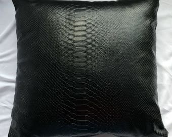 Black Anaconda Faux Leather Pillow Cover