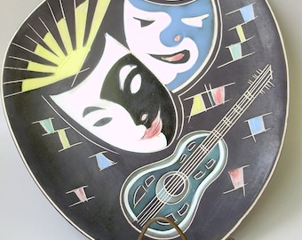 Vintage Ceramic plate,wall decor,centerpiece,theater mask decor,Mid-Century Modern