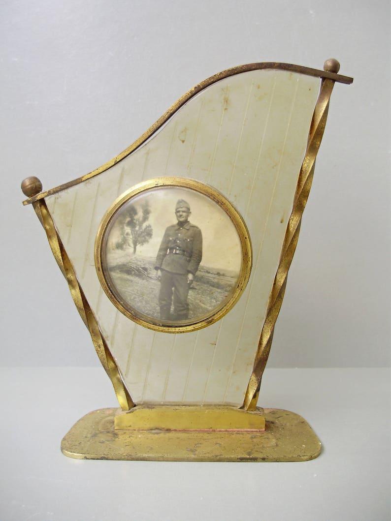 vintage solder photo,militaria black and white photography,original copper frame,copper phot frame,hostess gift Vintage portrait