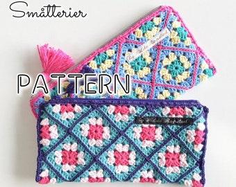 PATTERN: Granny Square Pencil Case with lining ~Cochet pattern, hekle, virka, krose, tejer