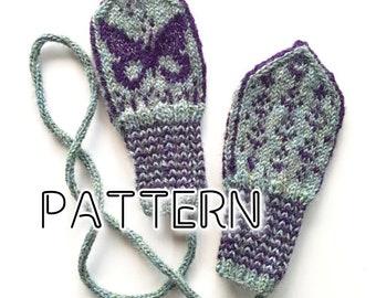 PATTERN: Butterfly Baby Mittens ~ knitting strikke stricken votter strikkeoppskrift