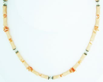"16"" Peach coral necklace"