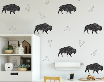 Geometric Bison Wall Decals/ Buffalo Wall Decals for Boys Room