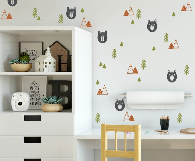 Woodland Bear in the Forest Wall Decals for Kid's Room or image 0