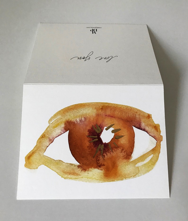 Single Eye Love You Note Card in Orange and Gold