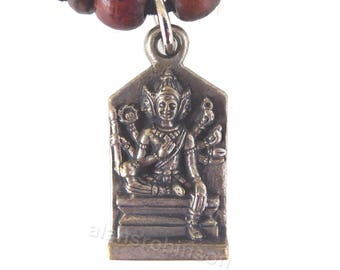 Brahma pendant with pagaoda / temple on reverse on chord necklace,, hindu  collier Brahma Halskette collar Brahma ketting, kama necklace