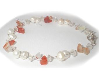 Carnelian and pearl bracelet cornelain and pearl bracelet bracelet en cornaline et perle Karneol und Perlen Armband