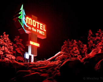 Motel in the Pines - Winter Neon Sign Photograph