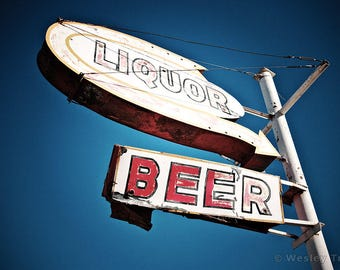 Liquor & Beer - Googie Sign Photograph