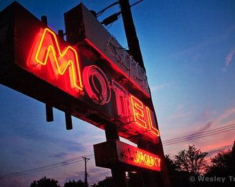 Little Biff's Motel - Roadside Neon Motel Sign Photograph