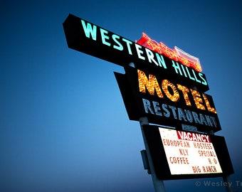 Western Hills Motel - Neon Motel Sign Photograph