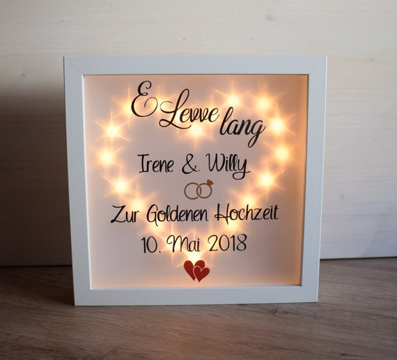 Belechteter Bilderrahmen Geschenk Hochzeit Etsy