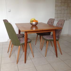 4 chaises anne 5060 scandinave restaure tissus jacquard motif gomtrique multicolore et vert kaki - Lot 6 Chaises Scandinaves2126