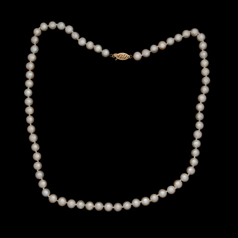 Antique Vintage Deco 14k Yellow Gold Saltwater Akoya Pearl Beaded Necklace 22.2g