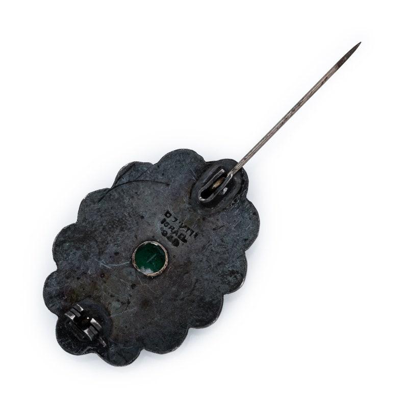 Antique Vintage Deco Sterling Silver Israeli Etruscan Emerald Pin Brooch 9.7g