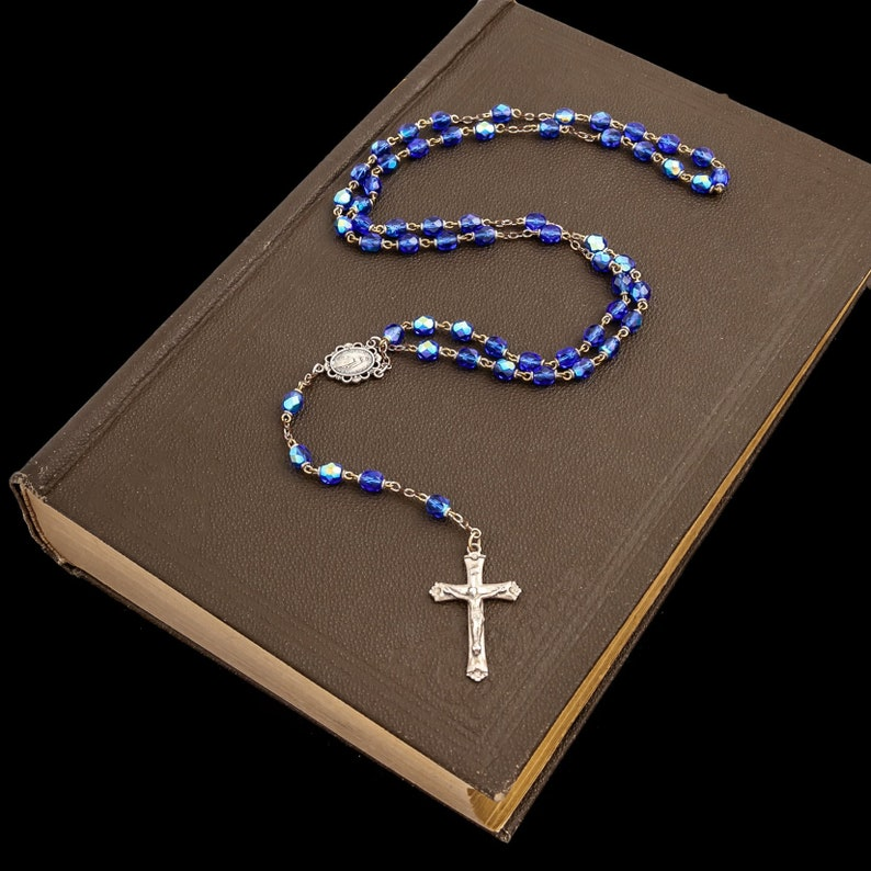 Antique Deco Sterling Silver Blue Crystal Glass Catholic Rosary Necklace