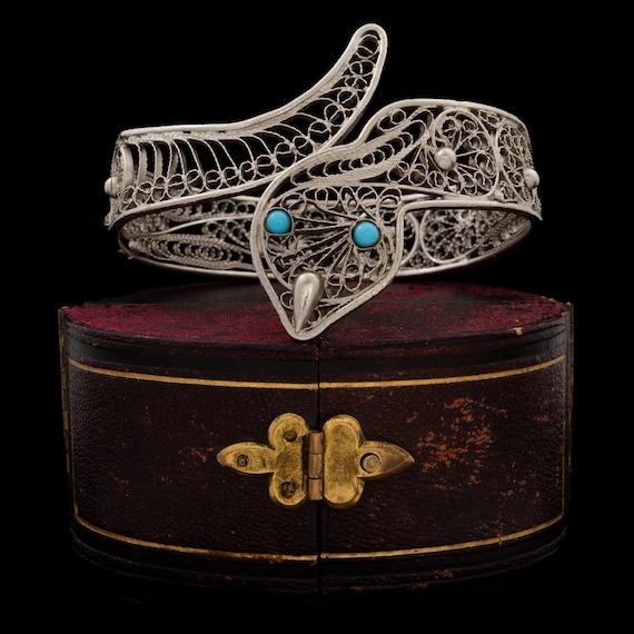 Antique Vintage Deco 925 Sterling Silver Chinese Filigree Charm Bracelet 12.4g