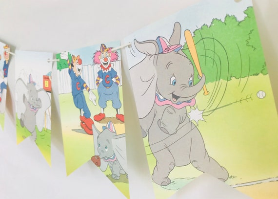 Dumbo at Bat B Story Book Pages Bunting Pennants Nursery | Etsy