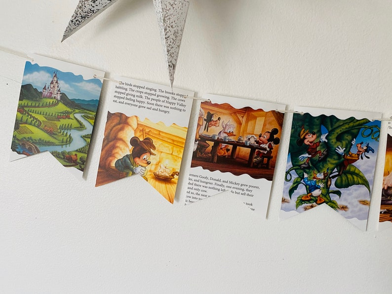 Story Book Pages Bunting Pennants Nursery Decor Baby Shower Birthday Party Flags Mickey and the Beanstalk Garland
