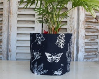 Botanical planter, fabric insect butterfly and flowers, fabric decoration for plant
