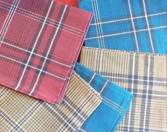 ac0161cd058a8 5 mouchoirs écossais vintage , homme * carré 40 cm * coton , ancien stock  neuf, rouge beige , bleu