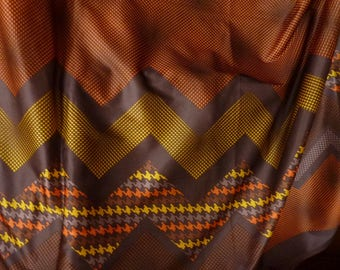 coupon lycra style vintage * 217 cm x 155 cm * motifs géométrique  marron orange jaune