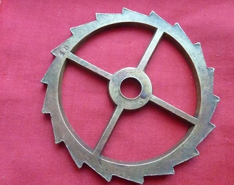 bronze gear toothed * 10 cm * old loom