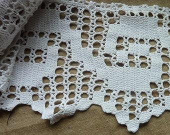 retro white crochet trim * 1.75 m by 17 cm * handmade