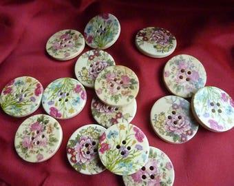 "15 ""wildflowers"" wood buttons * 3 cm * modern"