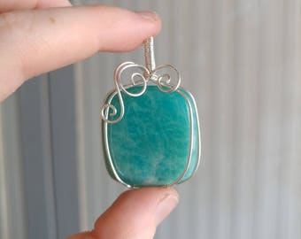 Stering Silver Wire Wrapped Amazonite Pendant
