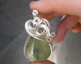 Prehnite Pendant Wrapped in Sterling Silver