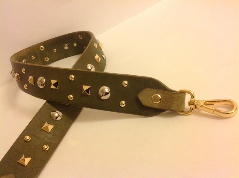 74cff427b03a Leather Stud Bag Strap Colorful Leather flower Strap Removable