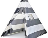 A Mustard Seed Toys Striped Kids Teepee Tent - Portable Canvas Tent, No Extra Chemicals, Includes Carrying Case (Grey)