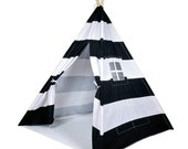 Striped Kids Teepee Tent - Portable Canvas Tent, No Extra Chemicals, Includes Carrying Case (Black)