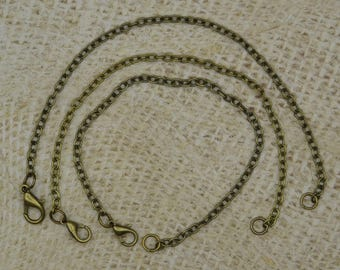 3 chains for bracelet clasp 18.5 cm bronze ring
