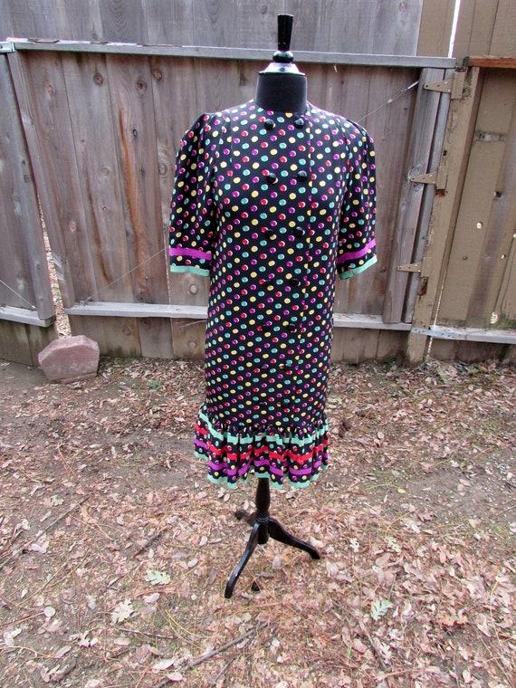 Colorful Dotted Albert Nipon Silk Dress