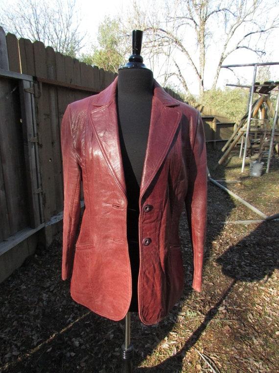 Burgundy Leather Blazer
