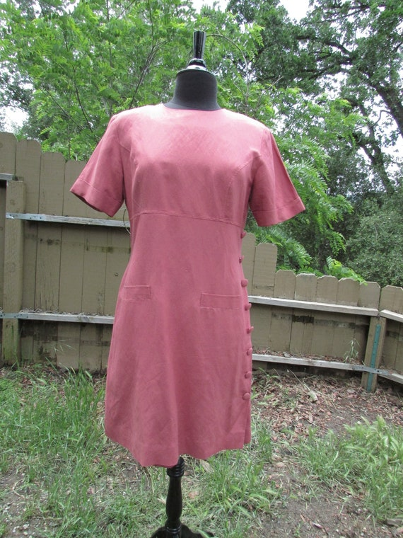 Tailored Linen Dress, Dusty Pink