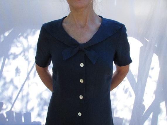 Navy Dress, Sailor Collar, Linen